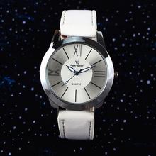 Free shipping 2015 Newest 4 Color Fashion Leather Band Clock Analog Quartz Watch Wrist Watch Women