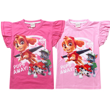 New Patrol Dog Girl T-Shirt Fly Sleeves T-Shirt Print Children Clothing Baby Girl Tops Fashion Printing Summer Top Tee