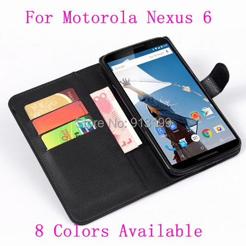 Wholesale 10pcs Flip Cover Wallet stand Leather Case Skin For Motorola Google Nexus 6 / Nexus X Mobile Phone With Card Holder