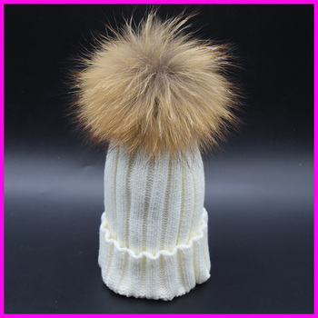 2015 Fashion Children Winter Raccoon Fur Hats 100% Real 15cm Fur pompom Beanies Cap Natural Fur Hat For Kids Children