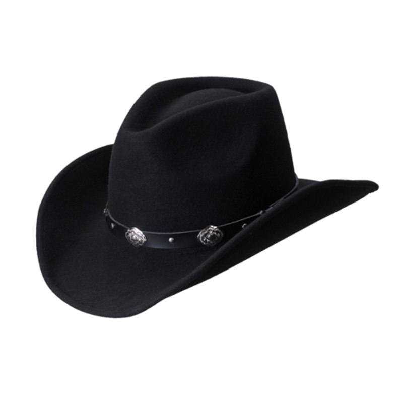 Unisex Classic Hondo Crown Black Wool Cowboy Hat + FREE SHIPPING