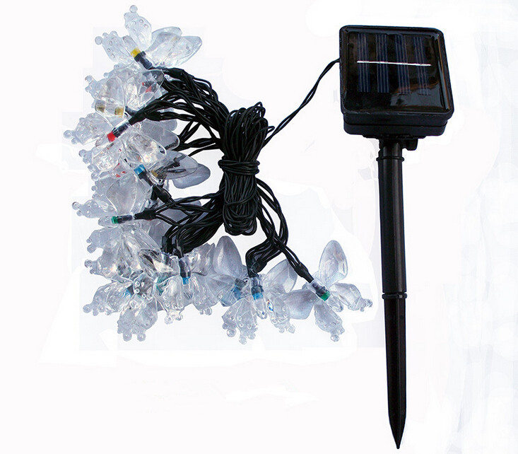 Free shipping butterfly 20 colourful LED solar lamp series of decorative Christmas lights garden lights(China (Mainland))