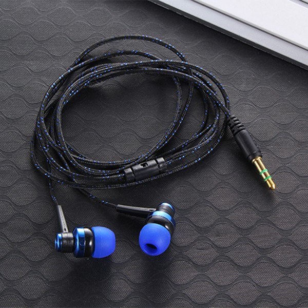 Hot MP3 mp4 Wiring Subwoofer Headset Ear Braided Rope Wire Cloth Rope Earplug Noise Isolating Earphone Built-in Mic Handfree LH9