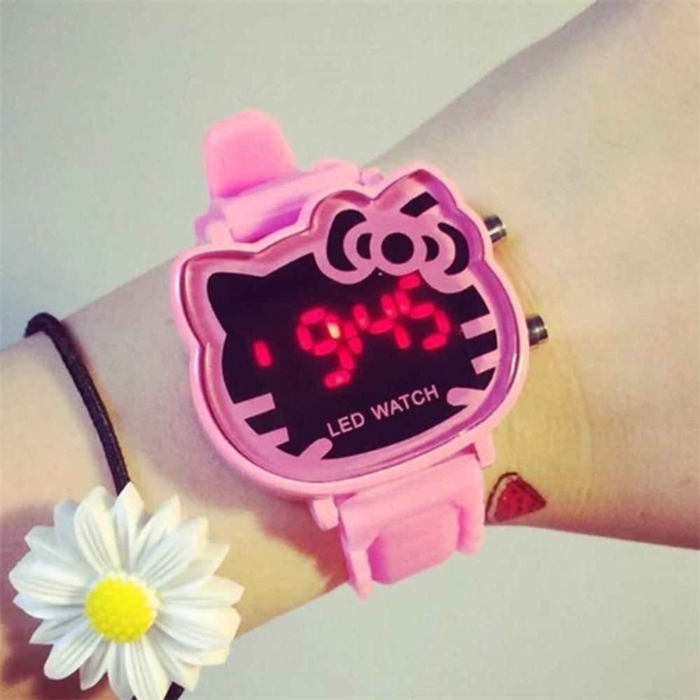 Cat Quartz Hello Kitty Led Digital Watch Women Luxury Fashion Lady Girl Band Cute Wristwatch Relogio Crystal Hour(China (Mainland))
