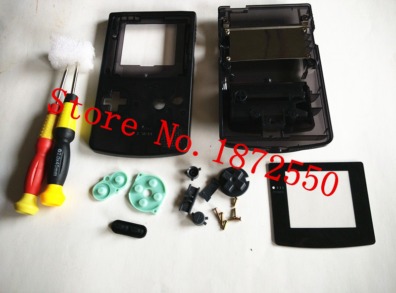 New Full Set With Rubber Pad /Screwdrivers Clear Black Housing Case for GBC Gameboy Color cover for Shell Replacement Part(China (Mainland))