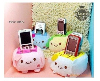 20PCS Plush Stuffed Toy DOLL Kawaii Japan Mix Colors Tofu Phone Holder ; Cell Mobile Phone Stand Holder Case Pouch Bag Pouch