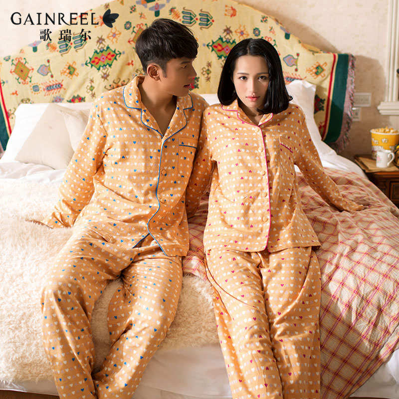 Song Riel Ms men can love shaped home pajamas cotton casual comfort couple tracksuit suit Spring