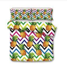 WAZIR 3d Pineapple Print Bedding set Watercolor Home textile Bedclothes Duvet Cover Pillowcases comforter bedding sets bed linen(China)
