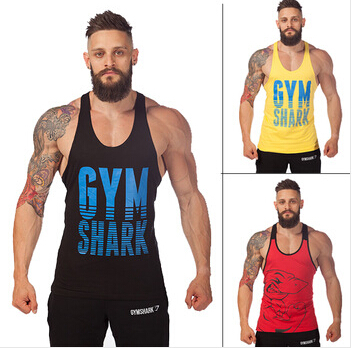 gymshark Wholesale cotton workout tank tops camo gym shark stringer tank tops fit muscle mens tank
