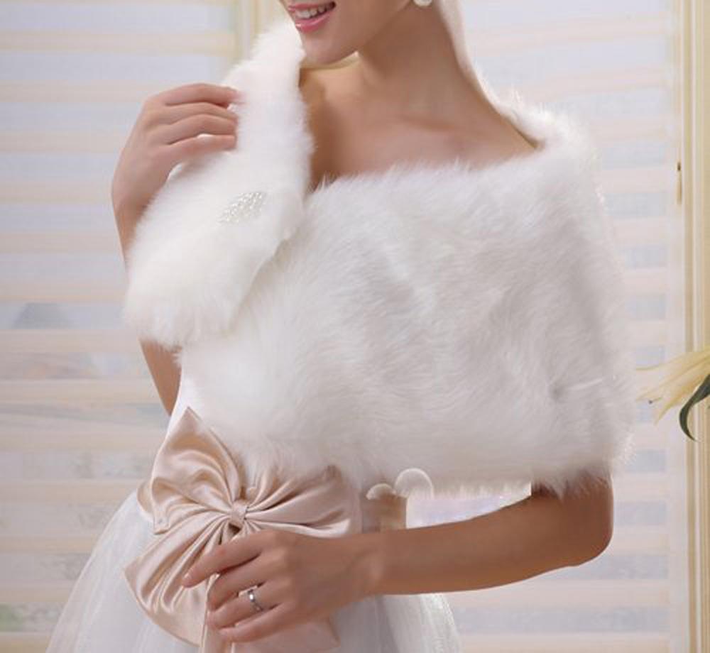 Elegant Ivory Plush Faux Fur Wrap Shrug Bolero Shawl Cape Bridal Wedding Jacket Free Shipping(China (Mainland))