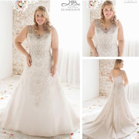 Wd3652 super plus size crystal beded wedding dress for Super plus size wedding dresses
