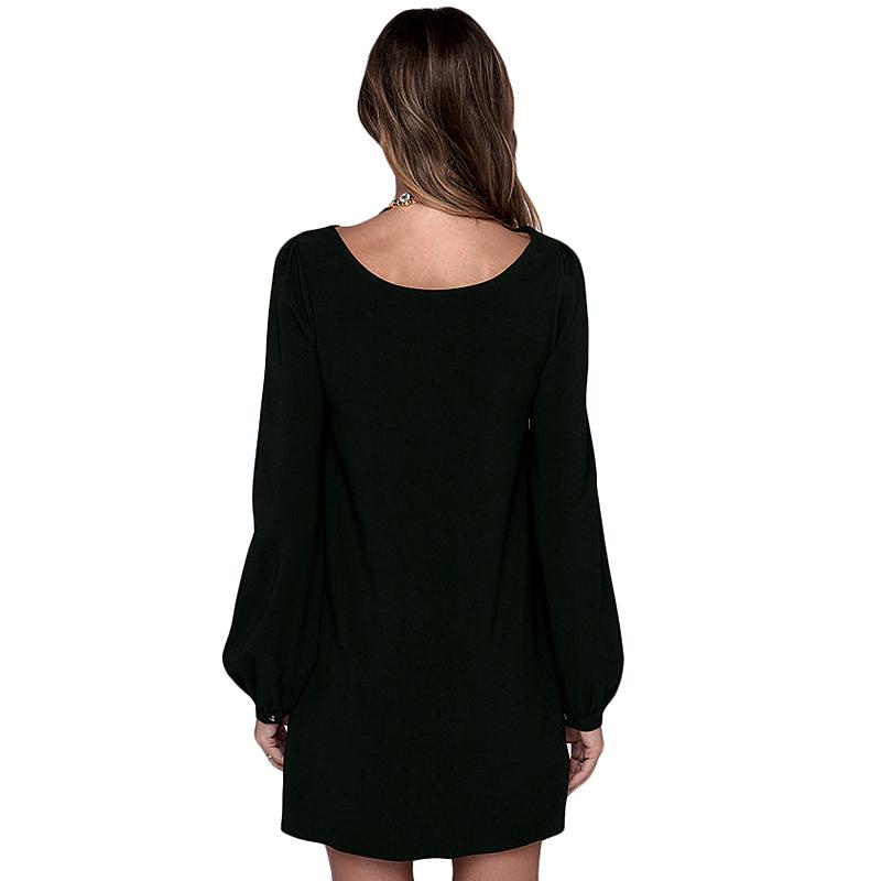 Платье прямой с круглым вырезом свободного покроя mini длинный рукав рукав-фонарь осень, элегантный женщины платья женское зеленый