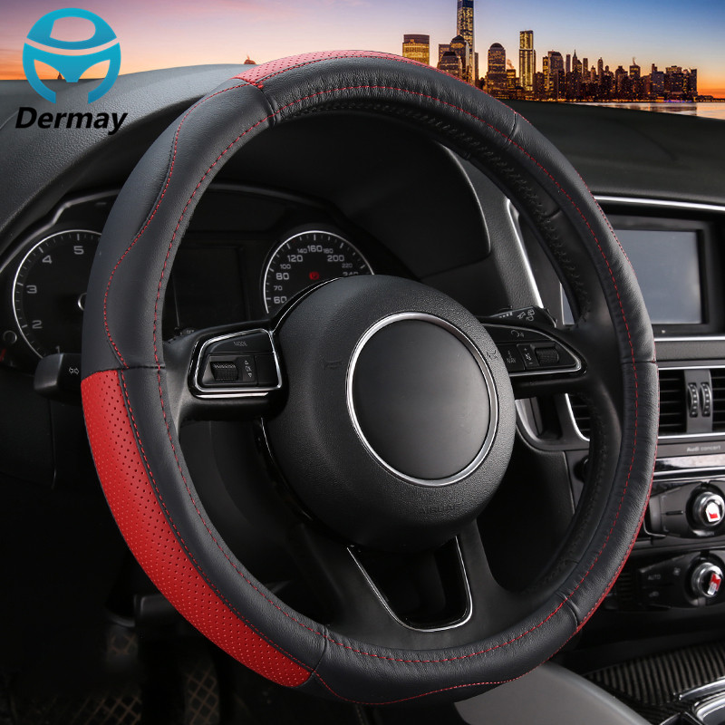 genuine leather steering wheel cover for 95 rs 15inch top leather steering wheel wrap for car. Black Bedroom Furniture Sets. Home Design Ideas