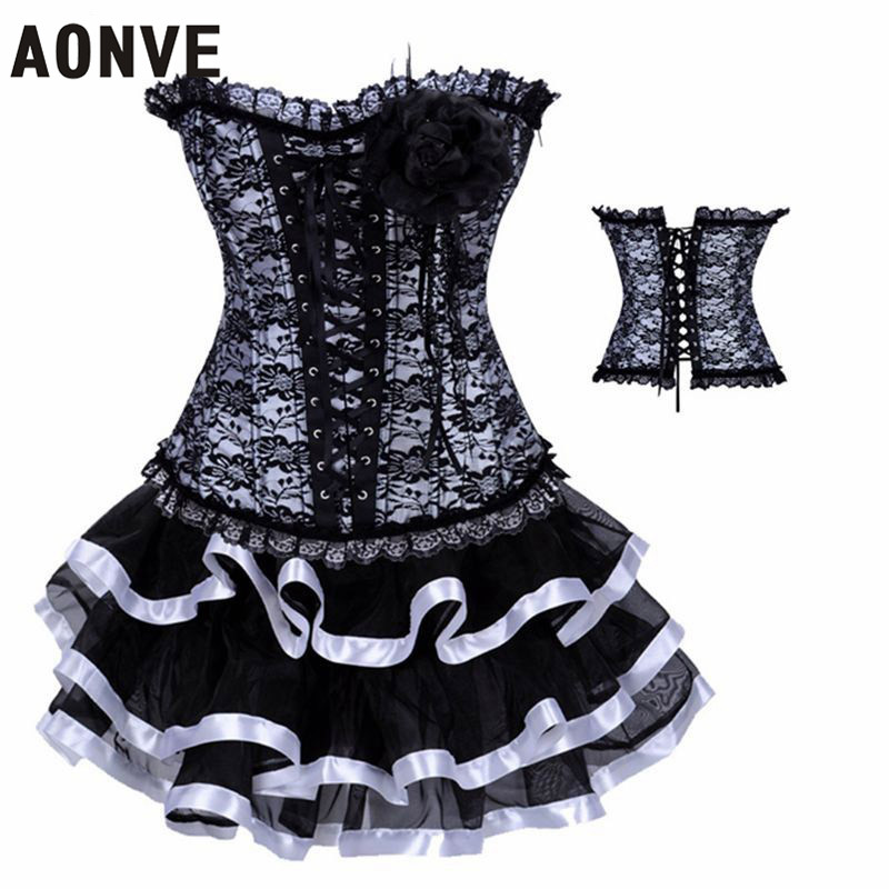 Women Corsets and Bustiers With Mini Skirt Lace Up Hot Shapers Sexy Ligerie Set Black White Dobby Slimming Wear(China (Mainland))