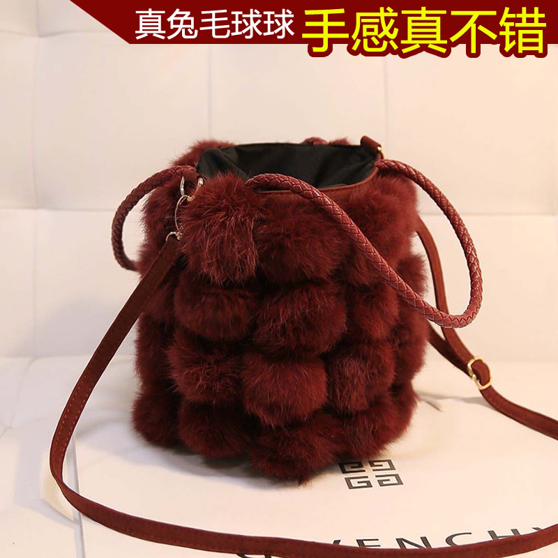 Rabbit fur bucket bag knitted handbag one shoulder cross-body women's handbag(China (Mainland))