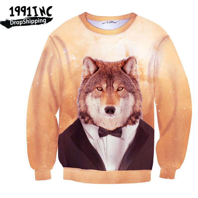 1991INC, 2016 New fashion Women/Men's brand Hoodies Mr. Wolf Printed 3D Sweatshirt Thick Fleece Tracksuit bape hoodies(China (Mainland))