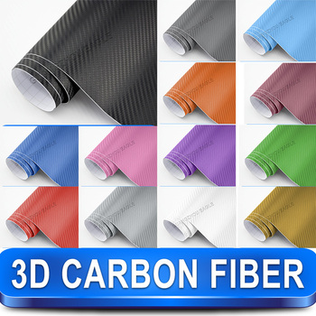3D Carbon Fiber Car Wrap Vinyl Car Sticker Film / 1.52m x30m Twill Weave Texture Free Shipping Wordlwide By Fedex