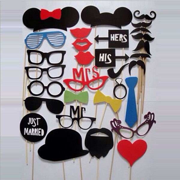 1Set/31pcs Home Family DIY Party Masks Photo Booth Props Mustache On A Stick Wedding Party Favor Free Shipping(China (Mainland))