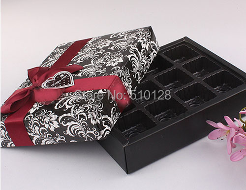 High Quality Free shipping wholesale 30pcs/lot 13.5*17.5*3.7cm 350g paperboard 12pieces chocolate packaging box,candy box(China (Mainland))