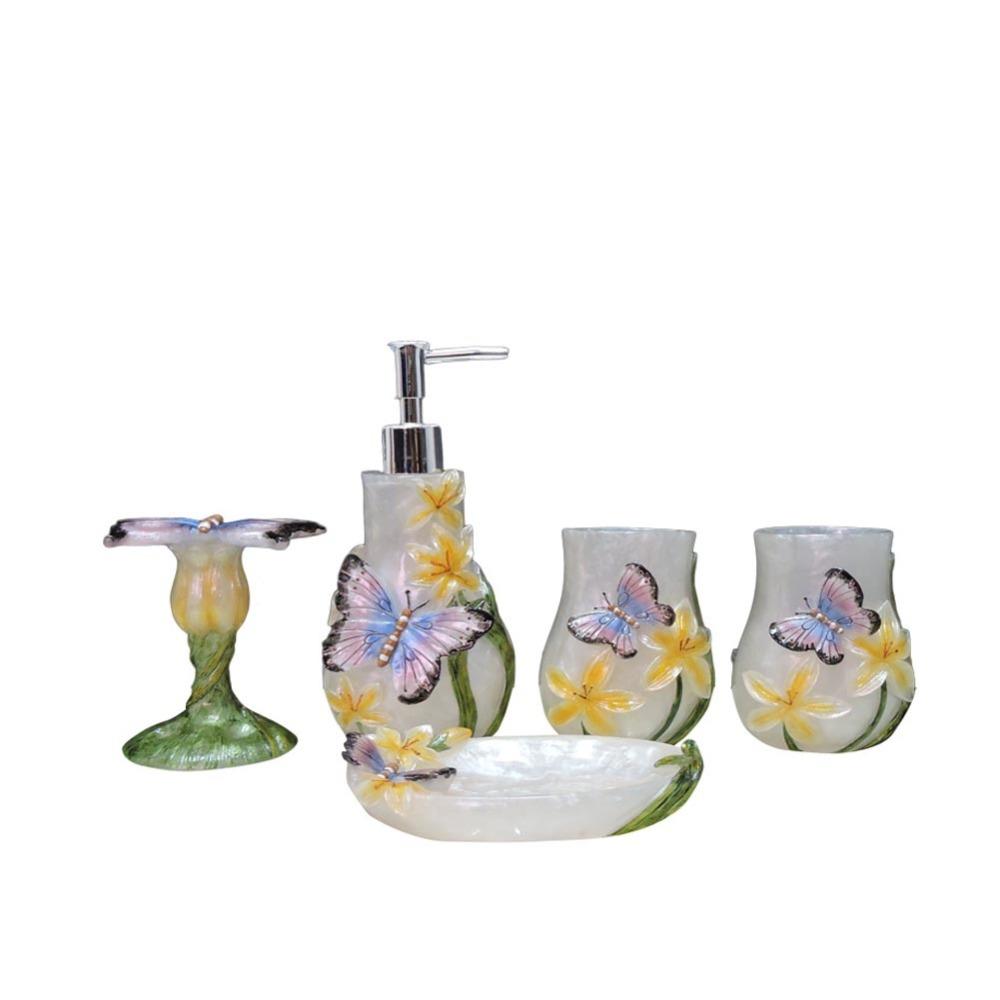 bathroom accessories 5pcs set resin household wash brush cup liquid
