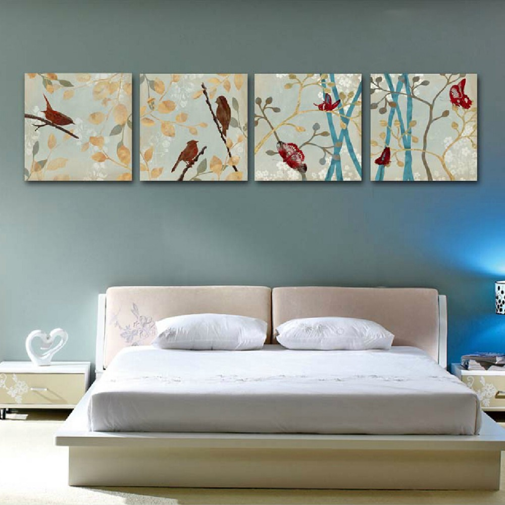Free Shipping Canvas Painting 4panels The Awaken Of Spring Painting Canvas Li