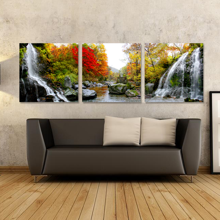 Free shipping 3Panels landscape canvas painting home decor sofa background decorative wall painting NO FRAME waterfall paint(China (Mainland))