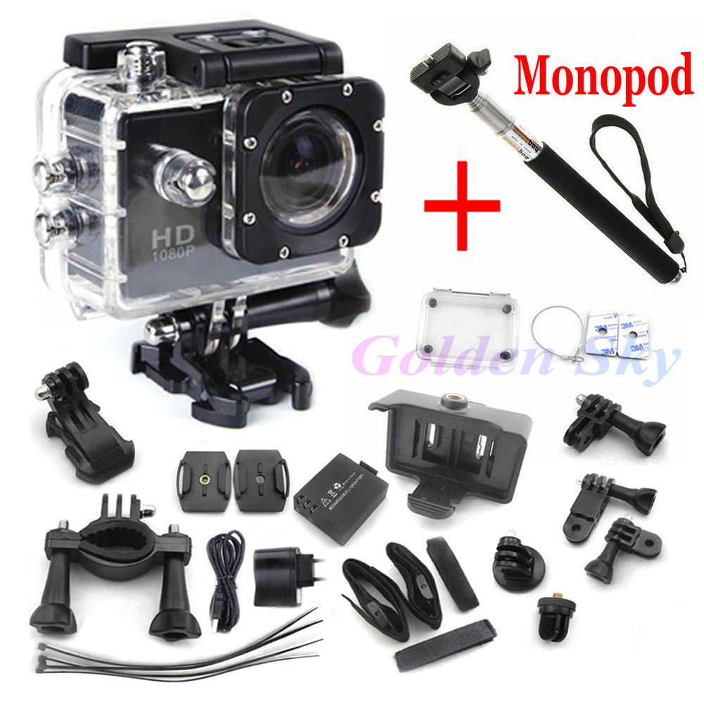 mini camcorders gopro hero 3 Style Full HD DVR SJ4000 video Sport go pro camera extreme Sport Helmet Action Camera+monopod(China (Mainland))
