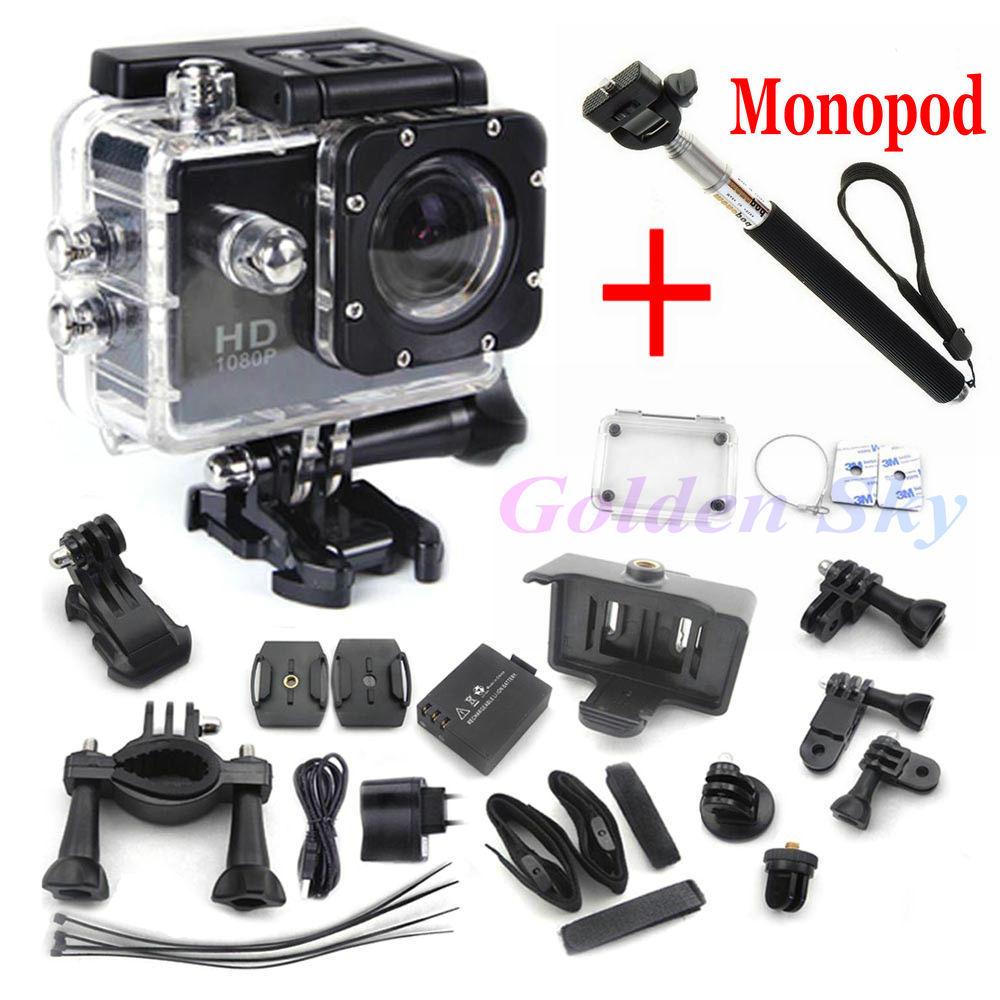 mini camcorders gopro hero 3 Style Full HD DVR SJ4000 video Sport go pro camera extreme Sport Helmet Action Camera+monopod(China (Mainland))