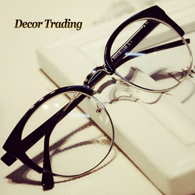 Latest Glasses Frame Designs : Fashion Cat Eye Half Metal Frame Glasses For Women/Men ...