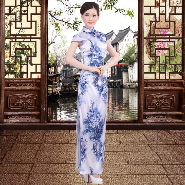 The new blue dress dress elegant modified silk cheongsam a generation long clothing wholesale(China (Mainland))