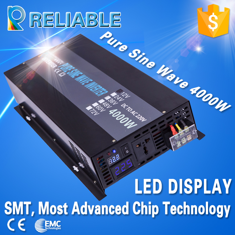 Most Advanced LED Display 4000W 12V 220V Full Power house hold high frequency power inverter pure sine wave inverter(China (Mainland))