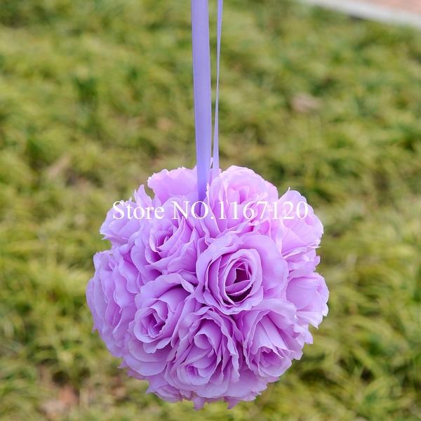 Free Express shipping,10pcs/lot light purple 8'' Silk Rose Kissing Ball Flower Pomander Bouquet Flower Ball Decor Wedding(HQ34)(China (Mainland))