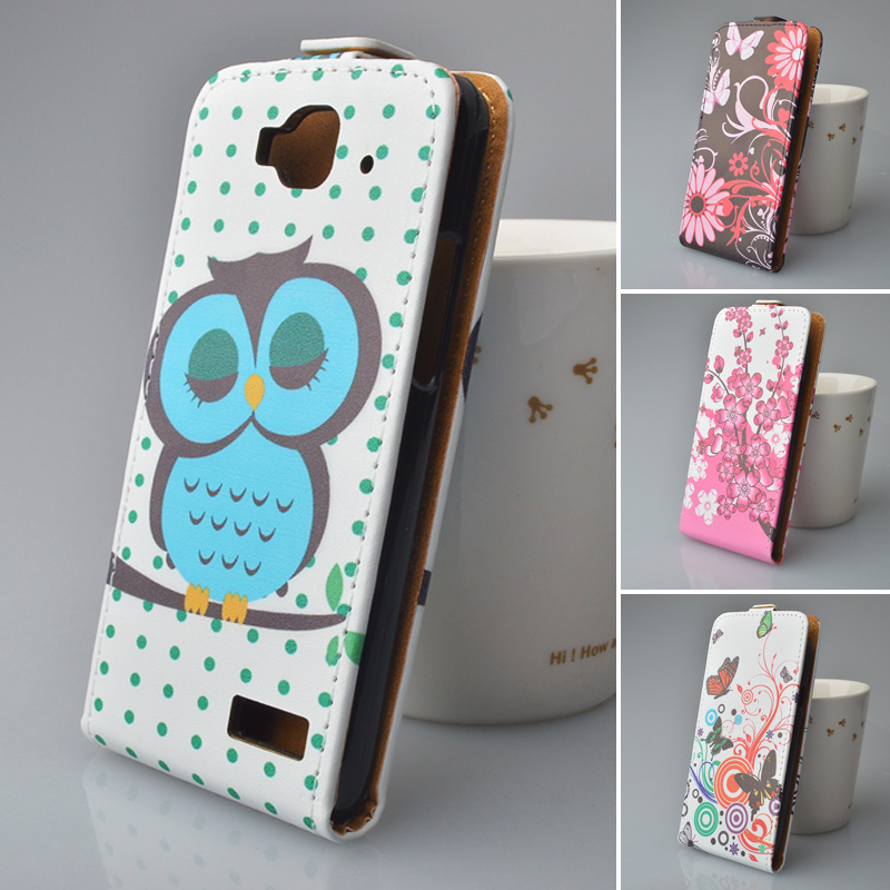 Cartoon PU Leather Case Flip Cover Mobile Phone Case Bag For Alcatel One Touch Idol mini 6012X 6012A 6012W 6012D phon(China (Mainland))