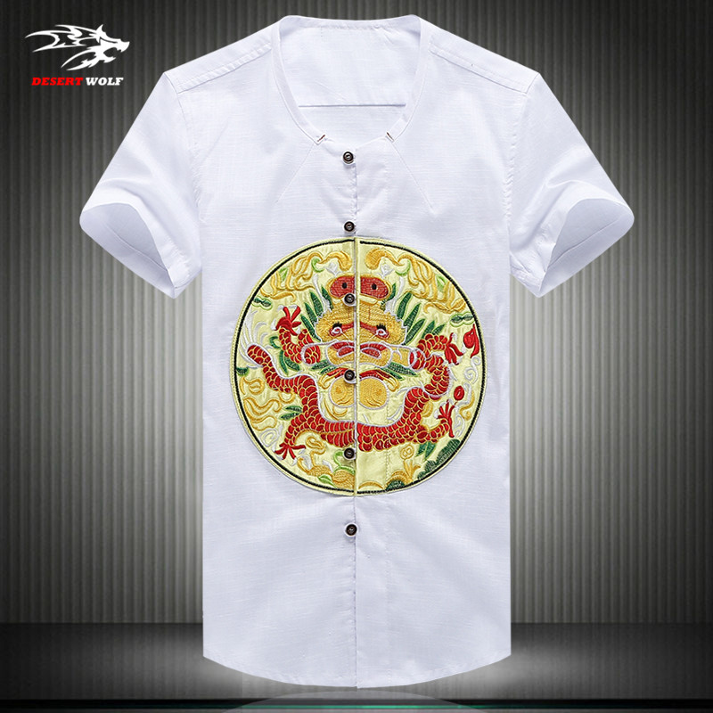 Summer short-sleeved T-shirt 2016 China Wind robes embroidered cotton T-shirt plus size national wind Qing robes code M-5XL(China (Mainland))