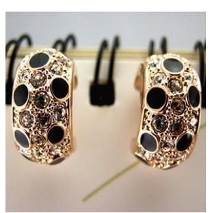 2014 Direct Selling B204 New Luxury Fashion Jewellery Used Imitation Diamond Panther Semicircle Earrings with Free Shipping(China (Mainland))