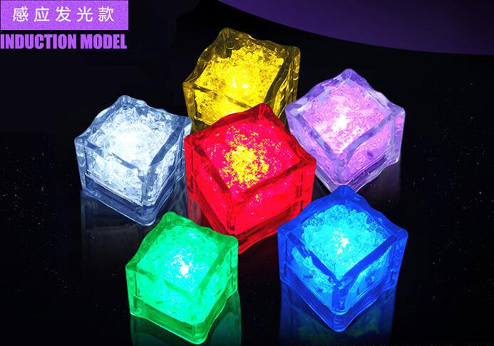 24Pcs free shipping Liquid active Colors Changing LED Night Light ice cube Decoration,Glowing Ice Cube,lighted Ice Led(China (Mainland))