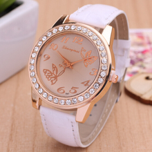 Exquisite Butterfly Pattern Women Watch 2015 New Brand Full Rhinestone Casual Watch Leather Strap Wristwatch Analog