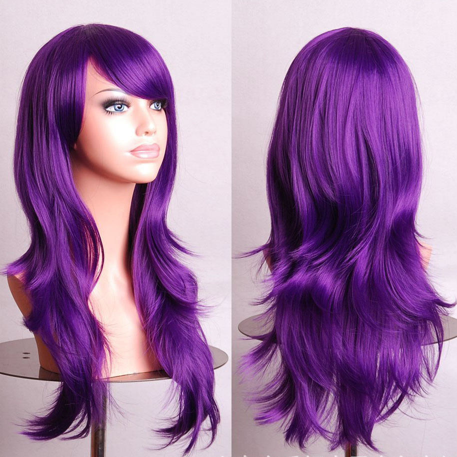 Fahion Curly Wave Hair pad Purple anime Cospaly wig 70CM Young long Synthetic Wig Perruque peluca peruca Lolita femininas(China (Mainland))
