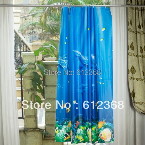 Tangpan blue dolphin pattern tropical fish coral ocean for Tropical fish shower curtain
