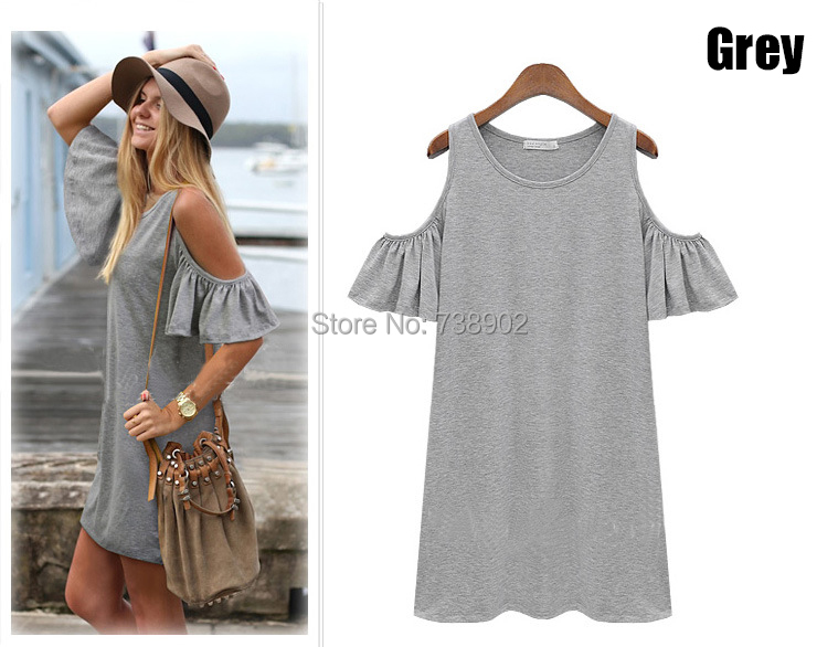 women summer Beach dresses Ladies Sexy Short Sleeve Cotton Grey Dress 2016 New Brand woman Casual Jersey O neck Tops clothes(China (Mainland))