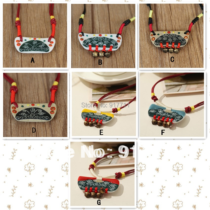Buy Ceramic Bell Necklace Handmade National Trend 2014 Fashion New Jewelry Long