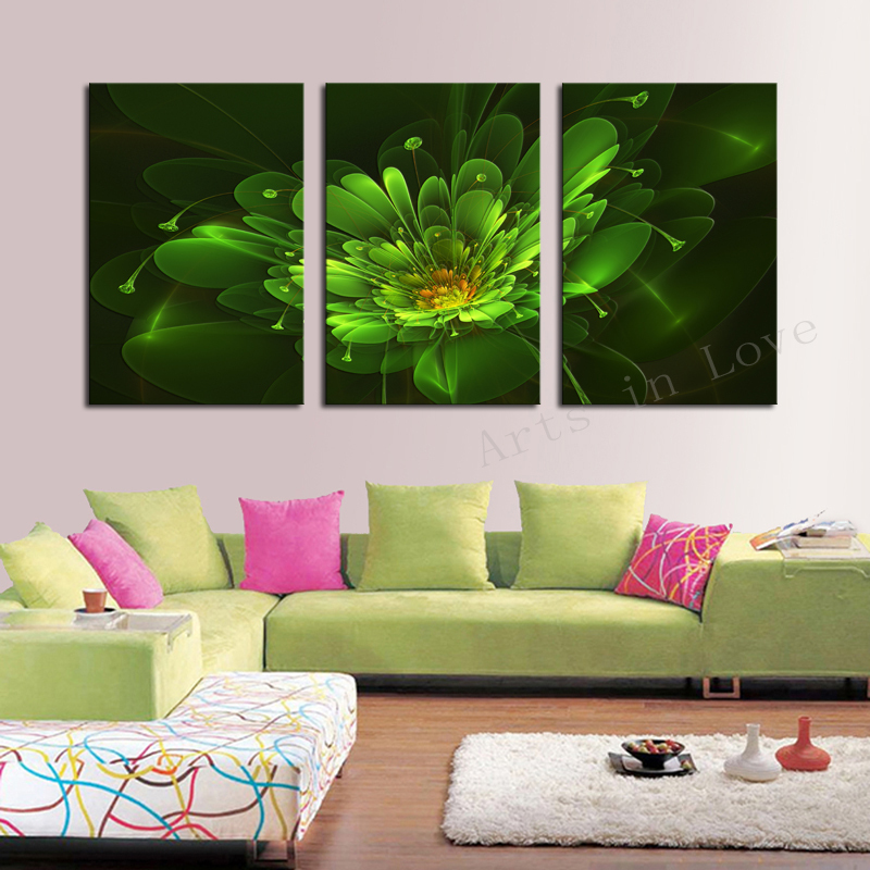 3 Panel Green abstract Flower Modern Wall Art Home Decoration Frameless Print Painting Canvas Pictures Living Room Dector - Whisper of painting store