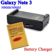 4200mAh Gold Battery +USB Wall battery charger For Samsung Galaxy Note 3 III N9000 N9005 N900A Bateria Batterij Accumulator AKKU