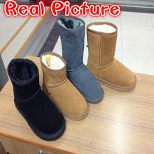 New Fashion Women Australia Classic Snow Boots Winter Woolen Warm Leather Boots Women Flats Warm Fur Shoes Boots Big Size 35-43(China (Mainland))