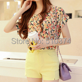 Discount 2015 summer new t-shirts women Y306 sweet floral print batwing sleeve thin chiffon blouses retail - New Fashion knitting Co.,Ltd. store