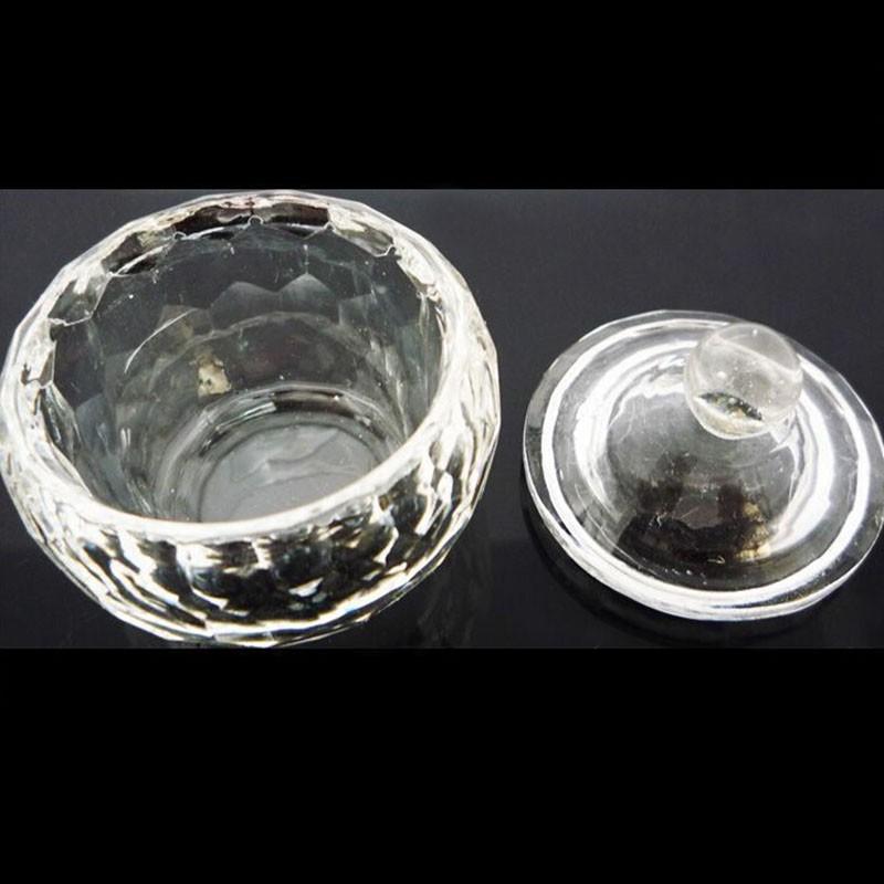 2pcs Useful Nail Tool Crystal Glass Dappen Dish Cup Nail Art Acrylic Liquid Makeup Powder Nail Styling Tool Nail Dust Collector(China (Mainland))