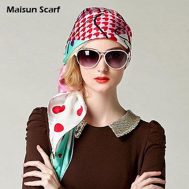 100% Silk Twill Large Square Scarves 14mm 90 X 90cm hijab(China (Mainland))