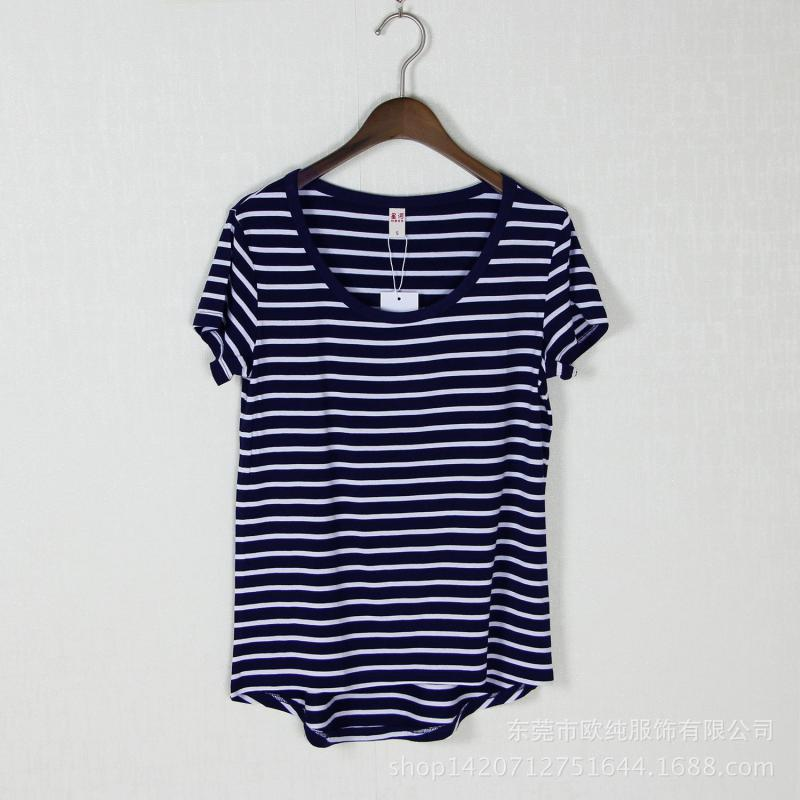 Modal Loose Summer Short Sleeves Stripes t-shirt O Neck T Shirts Ladies tops Tee Shirt Femme Clothes Plus Size Women Clothing(China (Mainland))