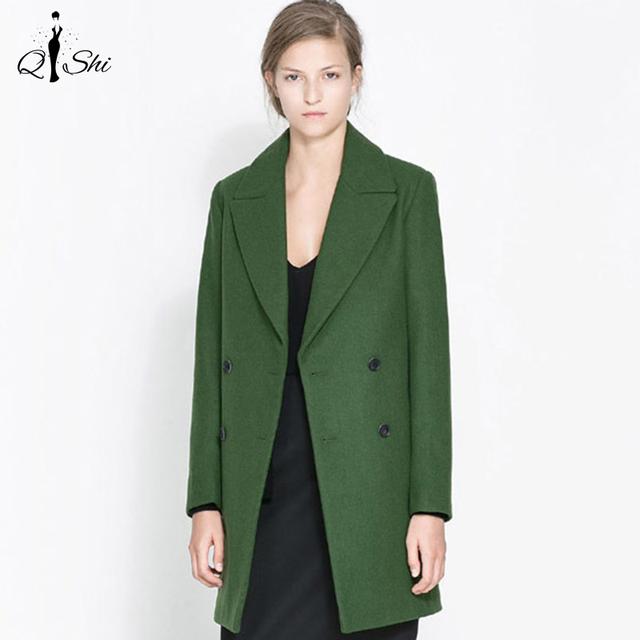 Мода Двубортный Шерстяное Пальто 2016 Зима отложным Воротником Тонкий Шерстяной Пальто Плюс Размер Женской Куртки