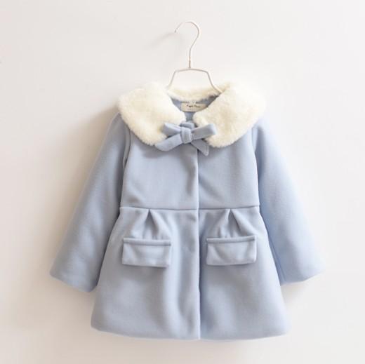 , autumn winter New children bowknot collars design wool coat inside add cotton,2-8Y,blue pink - Children's shop store